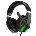 Gaming Headset for Xbox one,PC,PS4,PS5,Computer pc,Mac,iPad,Swap Video games, Video Game Headset with Microphone LED Lights Noise Canceling Bass Encompass Gentle Memory Earmuffs for Game Rivals-Green