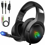 LANSNOW Gaming Headset for PS4 PC Xbox One PS5 Controller, Surround Sound Noise Cancelling Headphones with Mic, RBG LED Mild, Gentle Reminiscence Earmuffs, Over Ear…