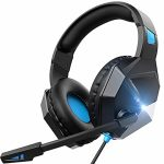 On-Ear Headphone Gaming Headset for PS4,PS5, PC, Xbox One,Swap -Surround Sound Headset with Microphone,Noise Cancelling,LED,Mushy Earmuffs, Teenagers Headphones for Boys (Blue)