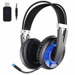 Wintory AIR 2.4G Wireless Gaming Headset for PC PS4 TV PlaystationComputer Headset with Detachable Noise Canceling Microphone Still Key 3D Surround Sound Over Ear Gaming…