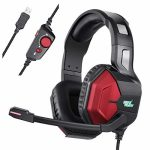 Gaming Headset with Microphone, REDSTORM Gaming Headset PS4 Headset PC Headphones with RGB Light Noise Canceling Over Ear Headphones for PS4, Laptop computer, Mac
