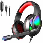 MuGo Gaming Headset for PC Xbox One, Over Ear Headphones with Color Altering LED Mild, Gaming Headphones for PS4 PS5 Pc Mac, Stereo Mic Surround…