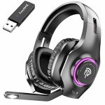 EasySMX Wi-fi Gaming Headset 2.4GHz with 7.1 Encompass Sound Deep Bass & Retractable Noise Canceling Microphone, Wi-fi Headset with RGB Automated Gradient Lights, Factual for…