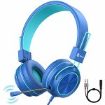 iClever HS21 Kids Headphones with Microphone for Virtual College- Rotatable Extendable Mic – 94 dB Quantity-Precise Headphones for Kids, Wired Foldable Kids Gaming Headset for…