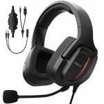 AIHOOR G20A Gaming Headset with Microphone for PS4 PC Xbox One PS5 Controller, Over Ear Headphones, Noise Cancelling Mic, Surround Sound Stereo, LED Lights Tender…