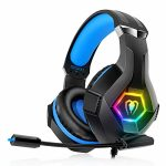 Gaming Headset PS4 Headset with 7.1 Surround Sound, Xbox One Headset with Noise Cancelling Versatile Mic with 2pcs Mic Duvet RGB LED Gentle Memory Earmuffs…