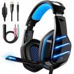 Gaming Headset for PS4 PS5 Xbox One PC Swap Laptop with 7.1 Surround Sound, Gaming Headphones with Noise Canceling Mic