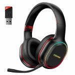 2.4GHz Wireless Gaming Headset for PS5, PS4, PC, Nintendo Swap, Dynamic EQ Extremely-Low Latency Bluetooth Gaming Headphones for Phone, 30H Playtime with Detachable Mic, 3.5MM…